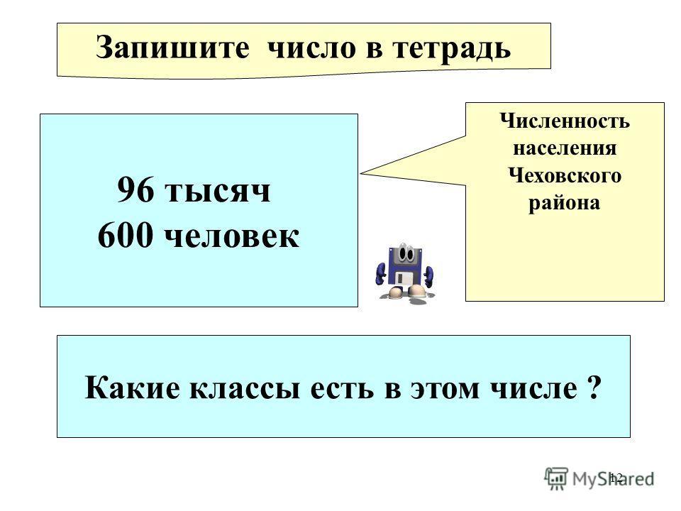 12 96 тысяч 600 человек Численность населения Чеховского района Запишите число в тетрадь Какие классы есть в этом числе ?