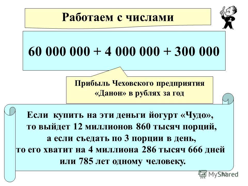 13 60 000 000 + 4 000 000 + 300 000 Работаем с числами Прибыль Чеховского предприятия «Данон» в рублях за год Если купить на эти деньги йогурт «Чудо», то выйдет 12 миллионов 860 тысяч порций, а если съедать по 3 порции в день, то его хватит на 4 милл