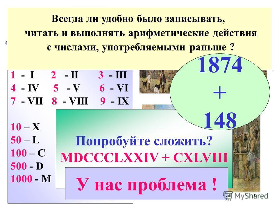 3 Древний Рим 1 - I 2 - II 3 - III 4 - IV 5 - V 6 - VI 7 - VII 8 - VIII 9 - IX 10 – X XXI - век 50 – L 100 – C 500 - D 1000 - M Попробуйте сложить? MDCCCLXXIV + CXLVIII У нас проблема ! Всегда ли удобно было записывать, читать и выполнять арифметичес