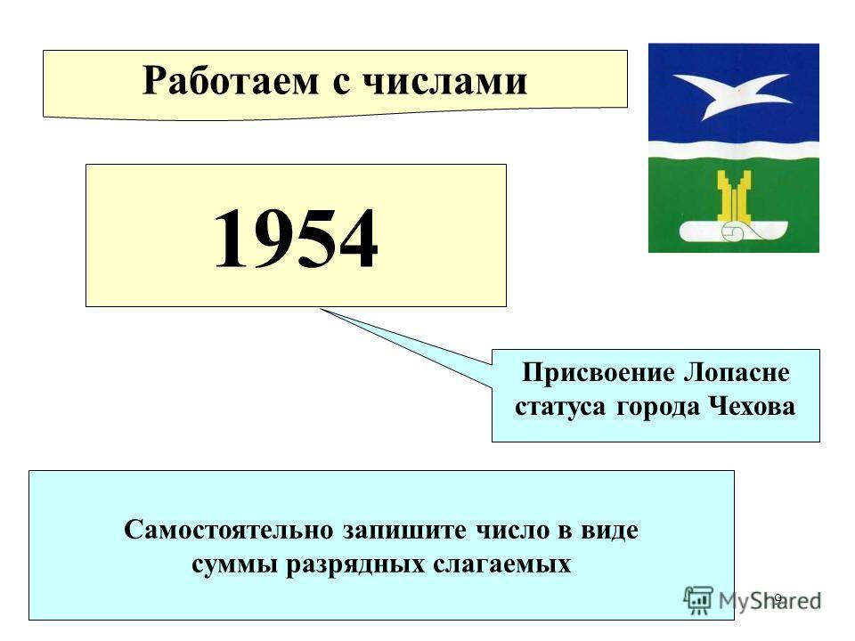 9 1954 Присвоение Лопасне статуса города Чехова Работаем с числами Самостоятельно запишите число в виде суммы разрядных слагаемых