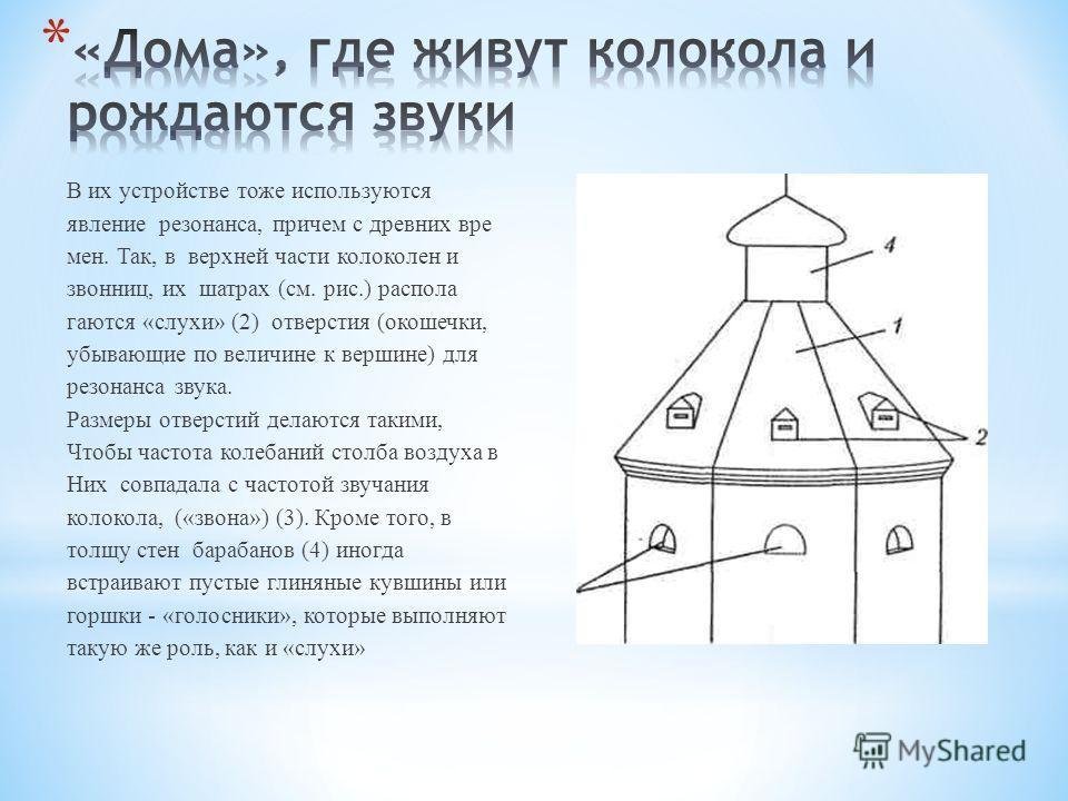 В их устройстве тоже используются явление резонанса, причем с древних вре мен. Так, в верхней части колоколен и звонниц, их шатрах (см. рис.) распола гаются «слухи» (2) отверстия (окошечки, убывающие по величине к вершине) для резонанса звука. Разм