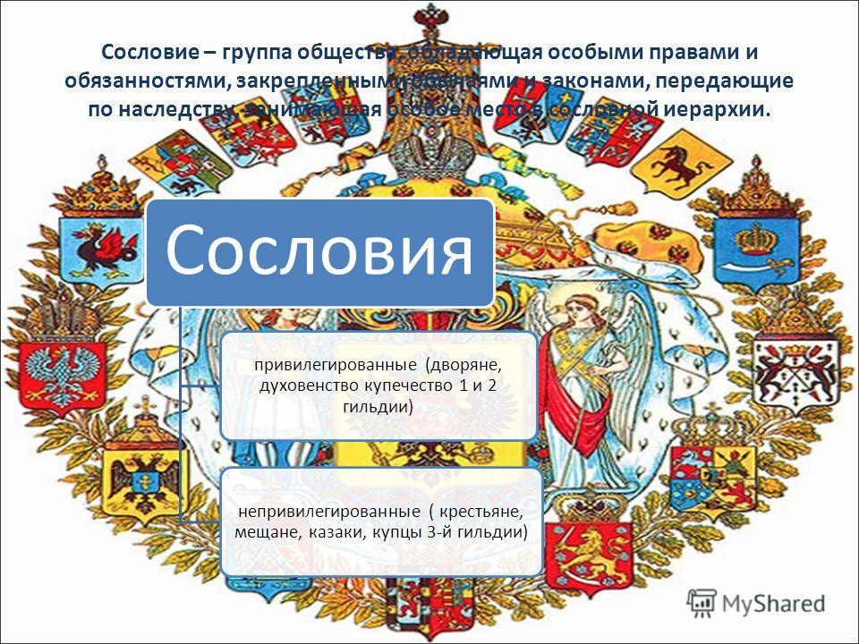 Сословие – группа общества, обладающая особыми правами и обязанностями, закрепленными обычаями и законами, передающие по наследству, занимающая особое место в сословной иерархии. Сословия привилегированные (дворяне, духовенство купечество 1 и 2 гильд