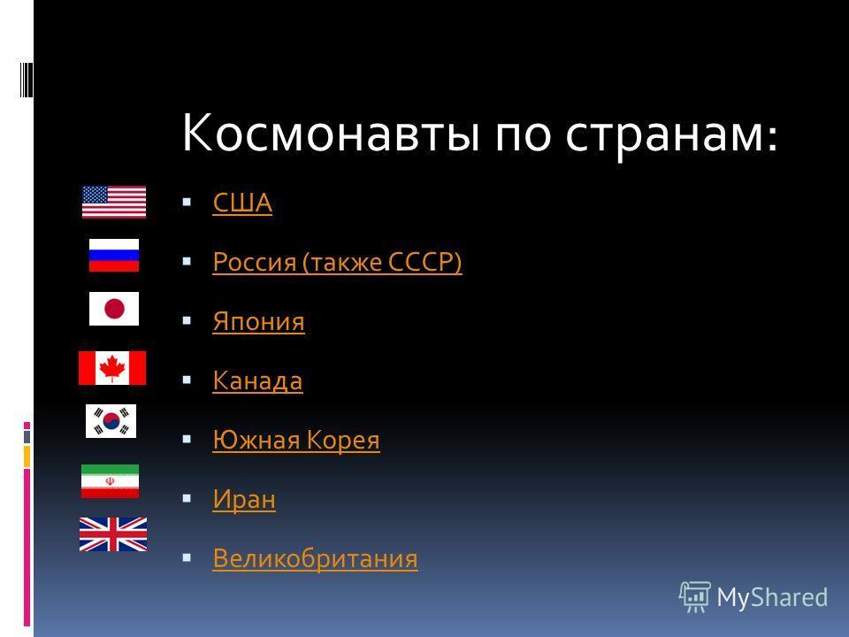 Космонавты по странам: США Россия (также СССР) Япония Канада Южная Корея Иран Великобритания