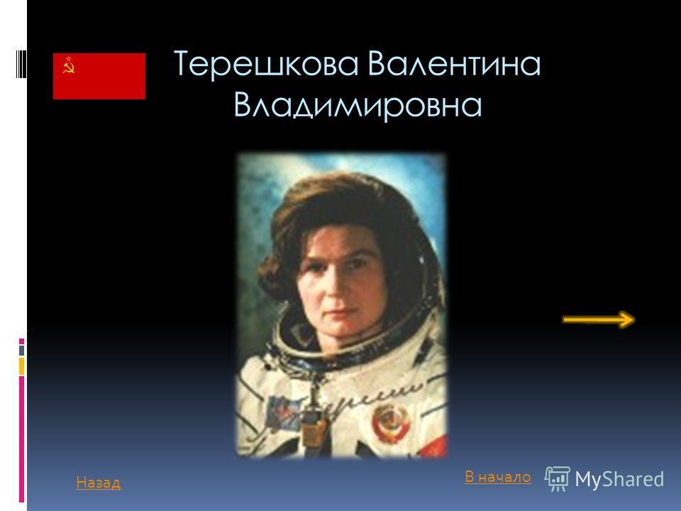 Терешкова Валентина Владимировна Назад В начало