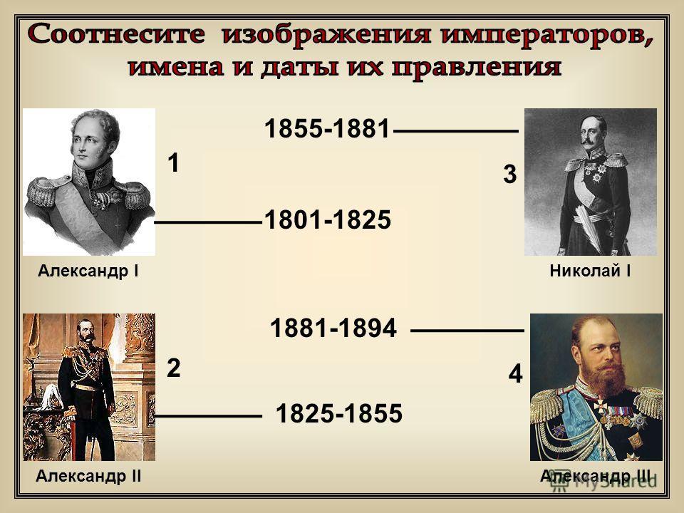 1855-1881 1825-1855 1881-1894 1801-1825 1 3 2 4 Александр IНиколай I Александр IIАлександр III
