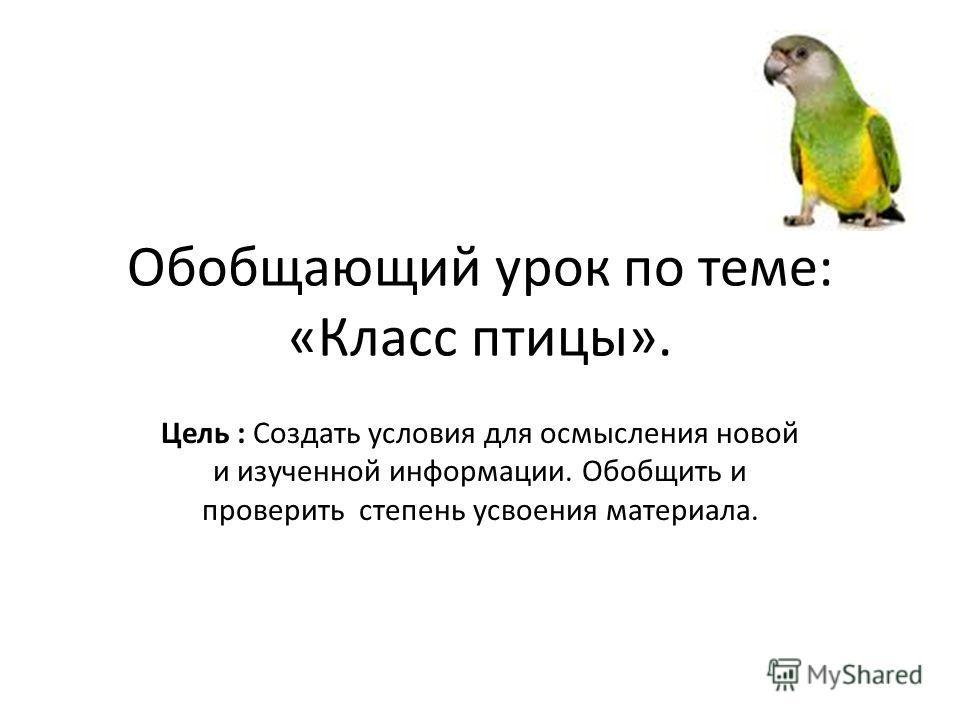 Обобщающий урок по теме: «Класс птицы». Цель : Создать условия для осмысления новой и изученной информации. Обобщить и проверить степень усвоения материала.