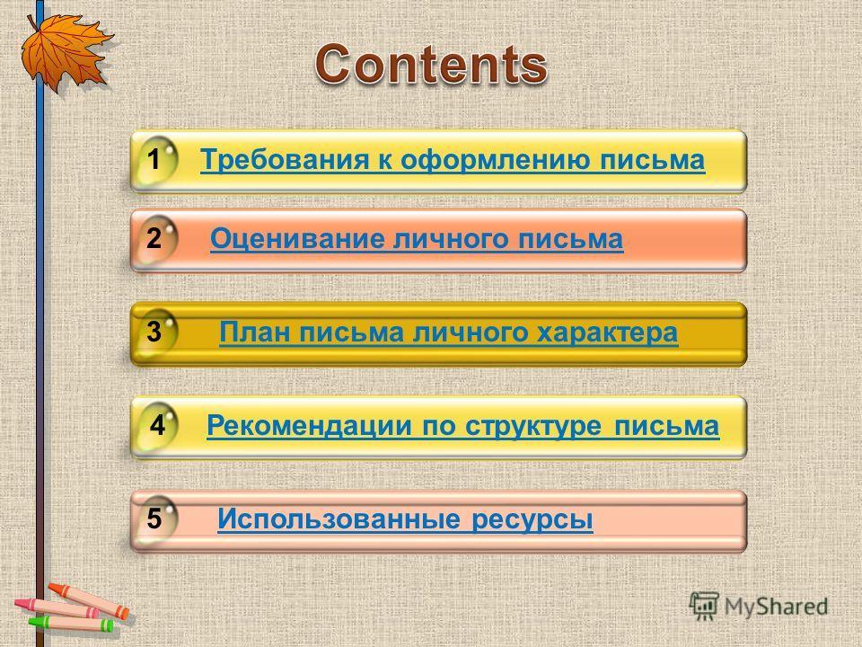 Требования к оформлению письма Click to add title in here 1 2 3 4 5Использованные ресурсы Рекомендации по структуре письма План письма личного характера Оценивание личного письма