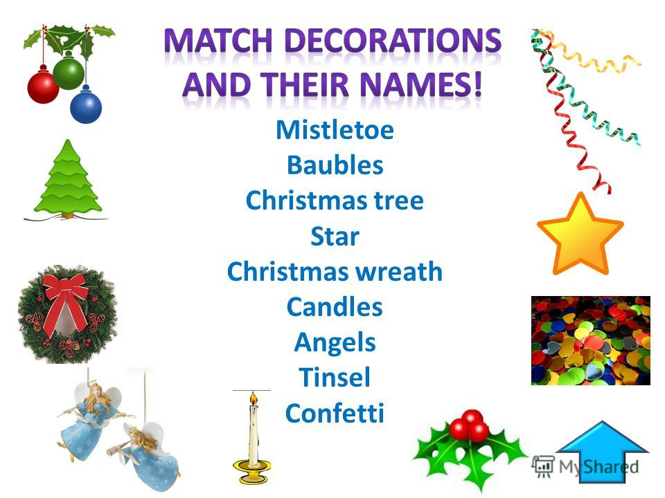 Mistletoe Baubles Christmas tree Star Christmas wreath Candles Angels Tinsel Confetti