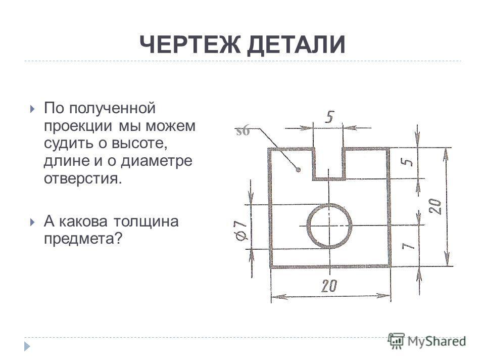 ЧЕРТЕЖ ДЕТАЛИ По полученной проекции мы можем судить о высоте, длине и о диаметре отверстия. А какова толщина предмета? s6