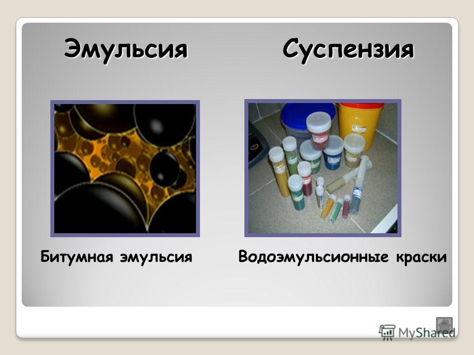 Битумная эмульсияВодоэмульсионные краски ЭмульсияСуспензия