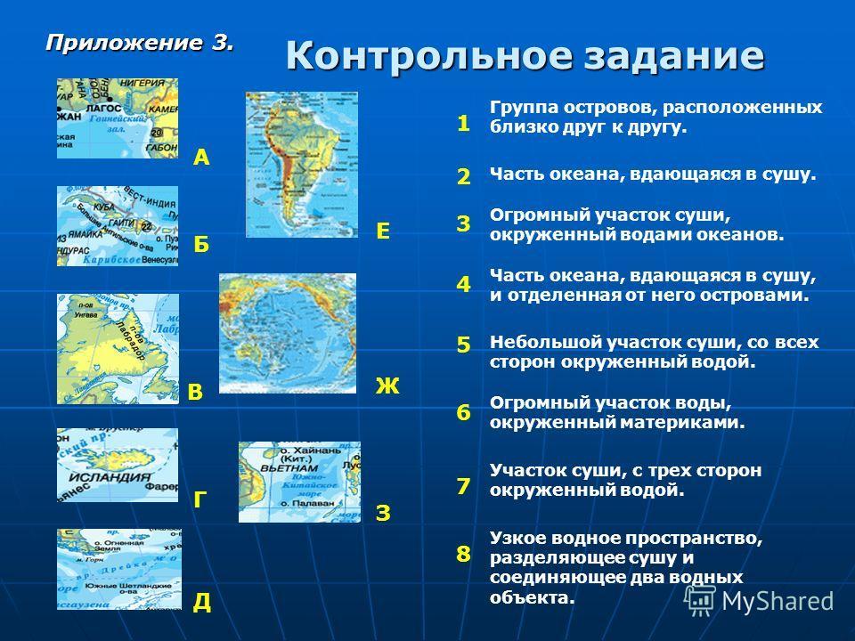 Контрольное задание А Е Д В Г З Ж Б Группа островов, расположенных близко друг к другу. Часть океана, вдающаяся в сушу. Огромный участок суши, окруженный водами океанов. Часть океана, вдающаяся в сушу, и отделенная от него островами. Небольшой участо