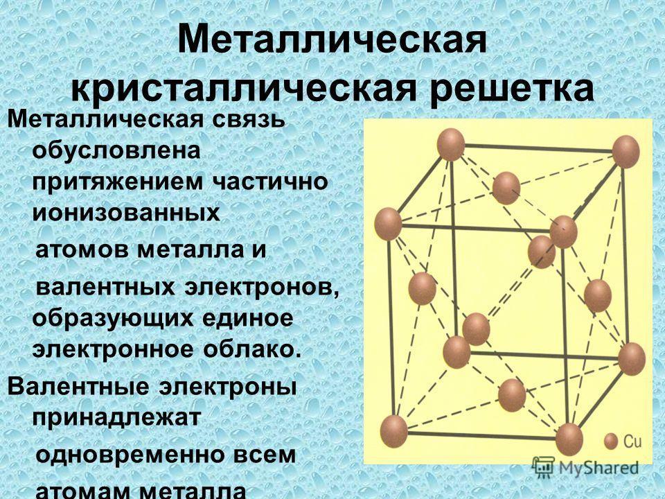 Металлическая кристаллическая решетка Металлическая связь обусловлена притяжением частично ионизованных атомов металла и валентных электронов, образующих единое электронное облако. Валентные электроны принадлежат одновременно всем атомам металла