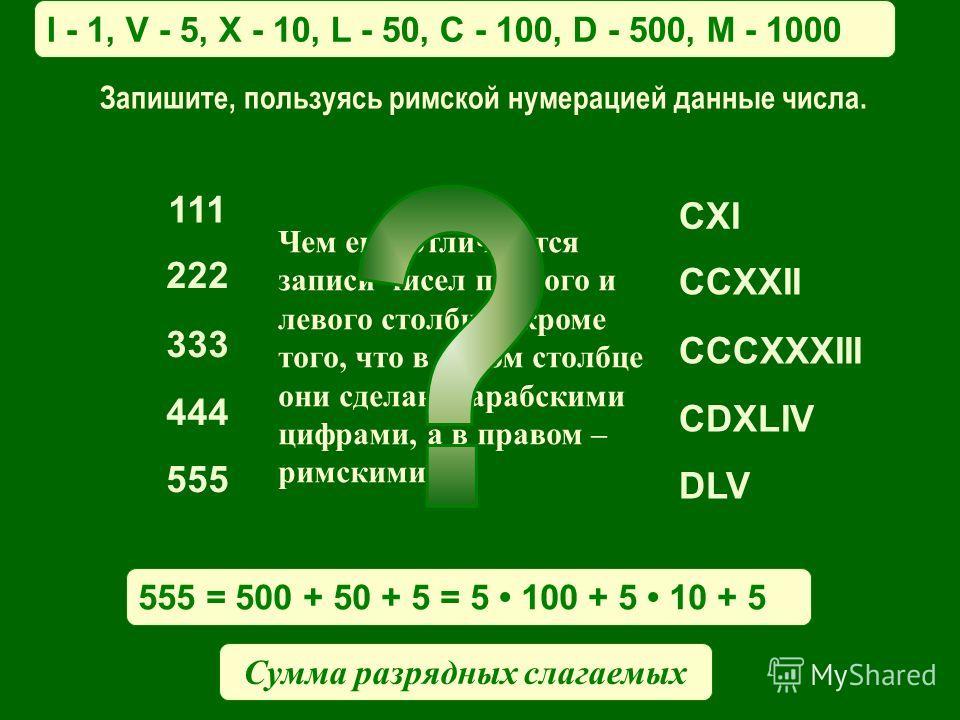 Чем еще отличаются записи чисел правого и левого столбцов кроме того, что в левом столбце они сделаны арабскими цифрами, а в правом – римскими? 111 222 333 444 555 CXI CCXXII CCCXXXIII CDXLIV DLV I - 1, V - 5, X - 10, L - 50, C - 100, D - 500, M - 10