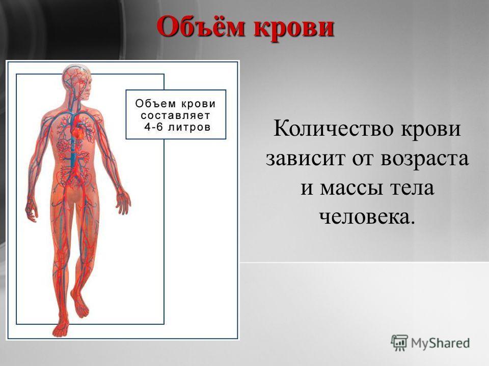 Количество крови зависит от возраста и массы тела человека. Объём крови
