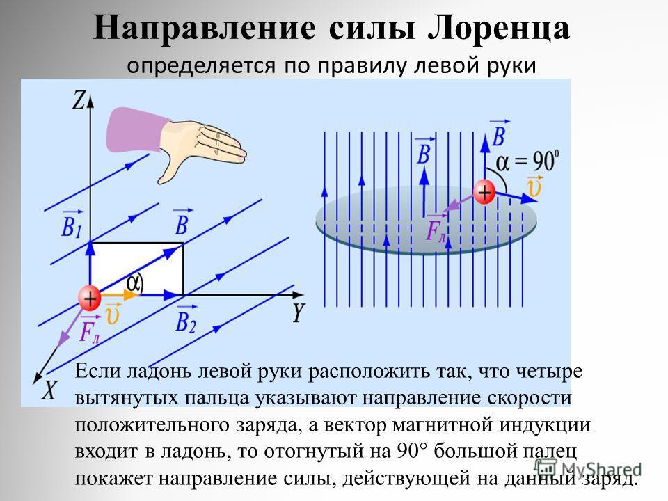 Направление силы Лоренца определяется по правилу левой руки Если ладонь левой руки расположить так, что четыре вытянутых пальца указывают направление скорости положительного заряда, а вектор магнитной индукции входит в ладонь, то отогнутый на 90° бол