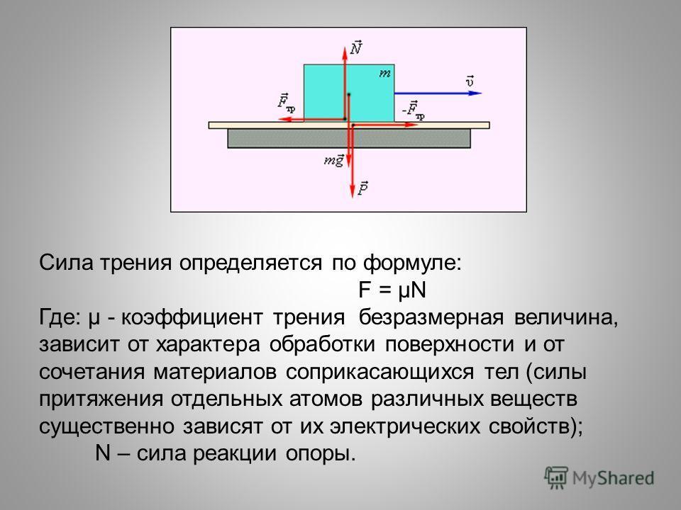 Сила трения определяется по формуле: F = µN Где: µ - коэффициент трения безразмерная величина, зависит от характера обработки поверхности и от сочетания материалов соприкасающихся тел (силы притяжения отдельных атомов различных веществ существенно за