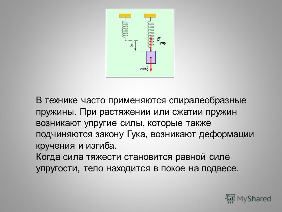 В технике часто применяются спиралеобразные пружины. При растяжении или сжатии пружин возникают упругие силы, которые также подчиняются закону Гука, возникают деформации кручения и изгиба. Когда сила тяжести становится равной силе упругости, тело нах