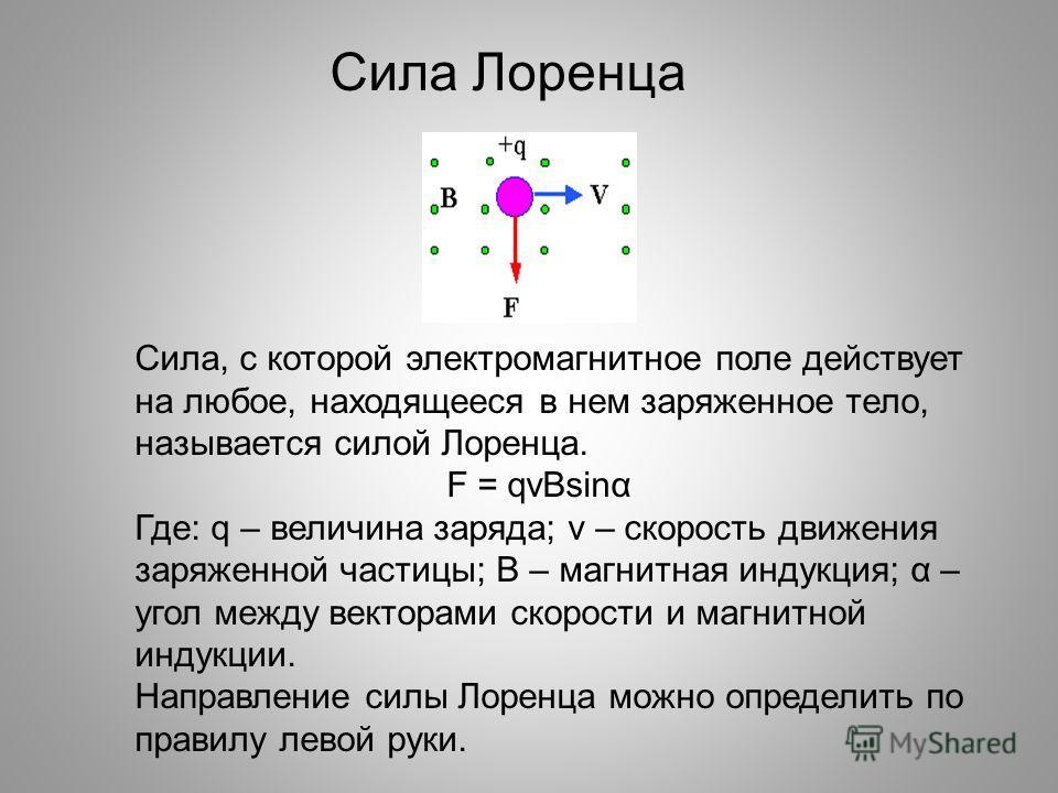 Сила Лоренца Сила, с которой электромагнитное поле действует на любое, находящееся в нем заряженное тело, называется силой Лоренца. F = qvBsinα Где: q – величина заряда; v – скорость движения заряженной частицы; В – магнитная индукция; α – угол между