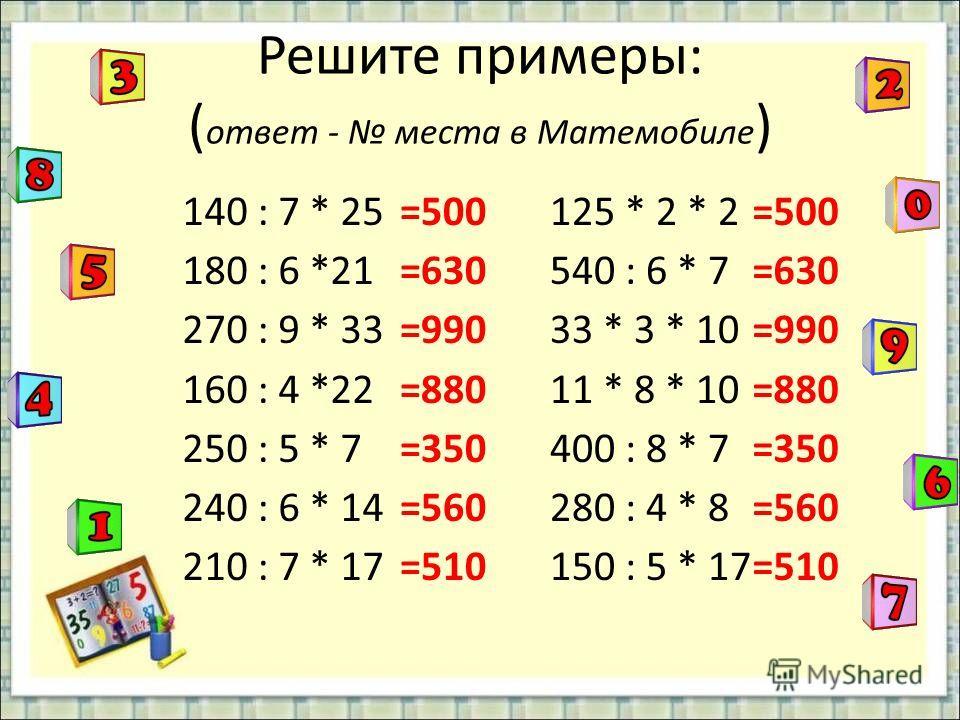 Решите примеры: ( ответ - места в Матемобиле ) 140 : 7 * 25 180 : 6 *21 270 : 9 * 33 160 : 4 *22 250 : 5 * 7 240 : 6 * 14 210 : 7 * 17 125 * 2 * 2 540 : 6 * 7 33 * 3 * 10 11 * 8 * 10 400 : 8 * 7 280 : 4 * 8 150 : 5 * 17 =500 =630 =990 =880 =350 =560