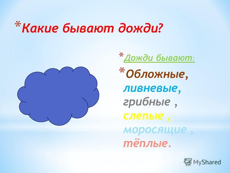 * Какие бывают дожди? * Дожди бывают : * Обложные, ливневые, грибные, слепые, моросящие, тёплые.