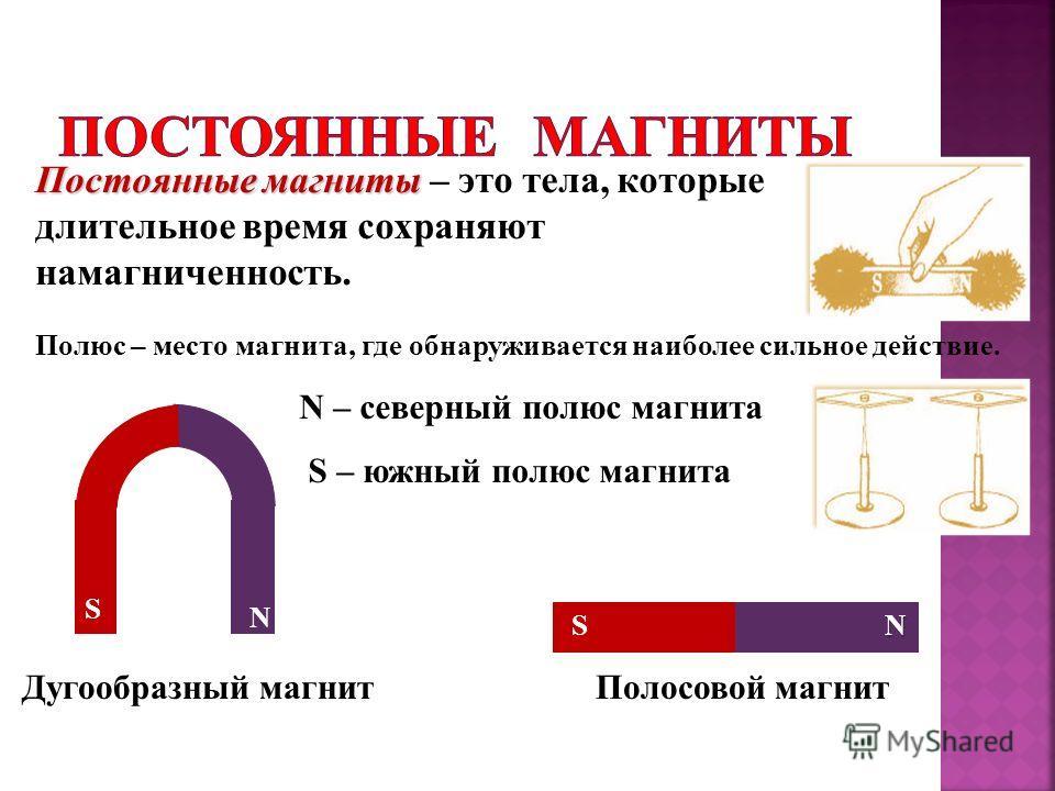 N – северный полюс магнита S – южный полюс магнита Постоянные магниты Постоянные магниты – это тела, которые длительное время сохраняют намагниченность. Дугообразный магнитПолосовой магнит N N S S Полюс – место магнита, где обнаруживается наиболее си
