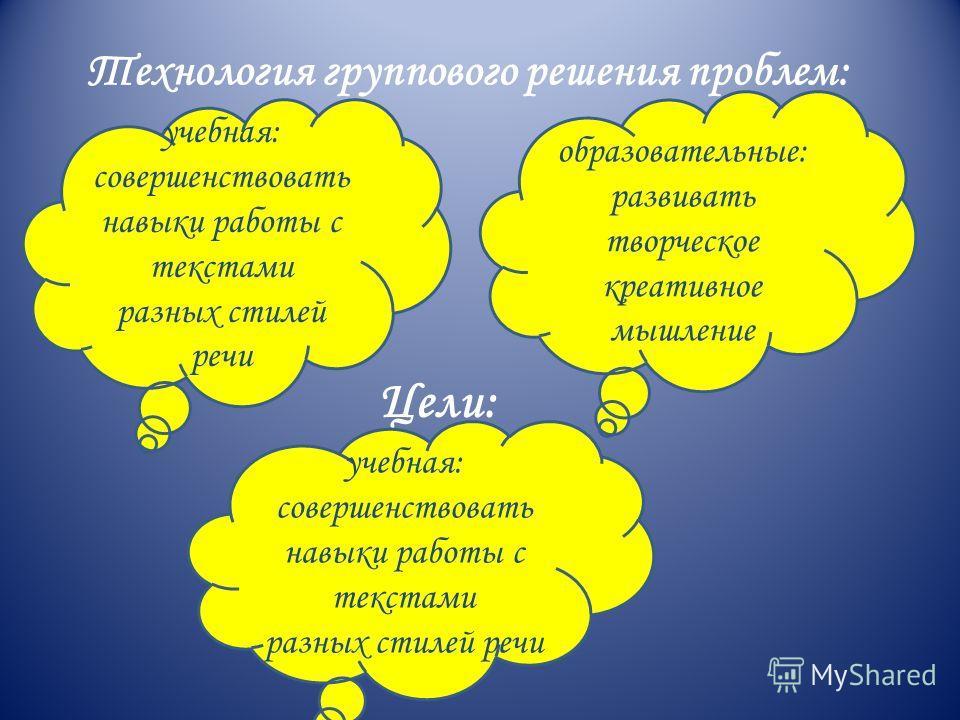 Технология группового решения проблем: Цели: образовательные: развивать творческое креативное мышление учебная: совершенствовать навыки работы с текстами разных стилей речи
