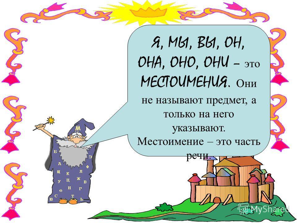 Я, МЫ, ВЫ, ОН, ОНА, ОНО, ОНИ – э то МЕСТОИМЕНИЯ. О ни не называют предмет, а только на него указывают. Местоимение – это часть речи.