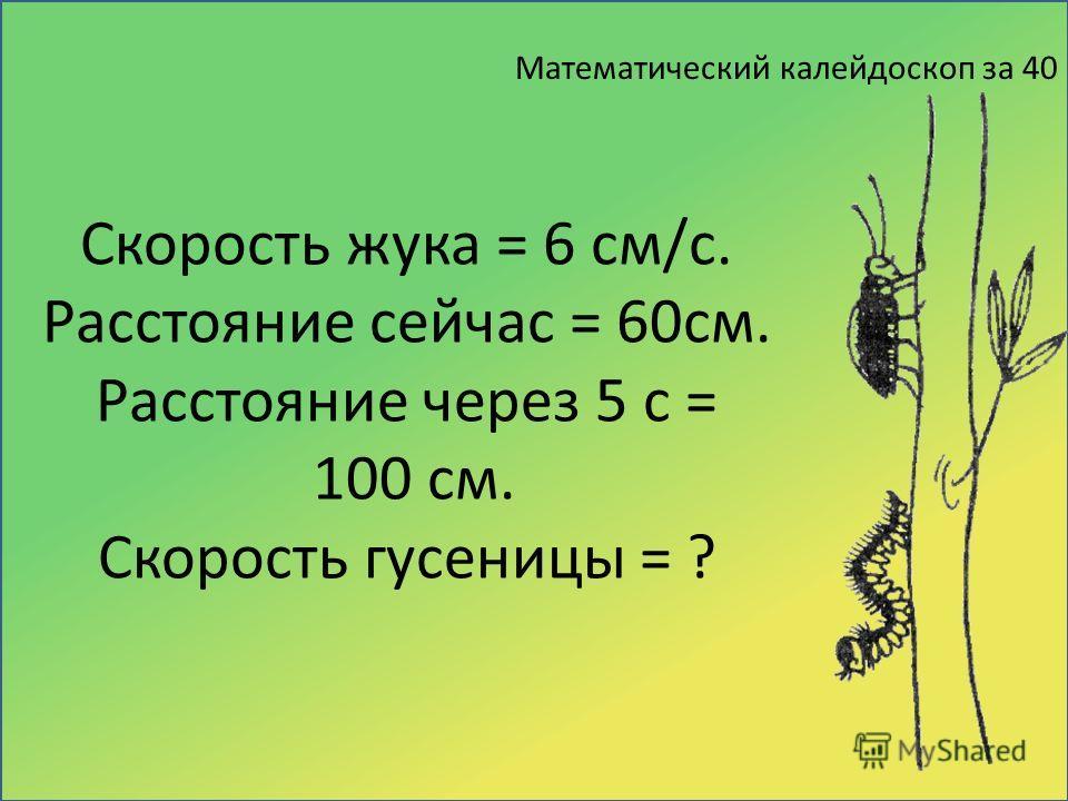 Математический калейдоскоп за 40 Скорость жука = 6 см/с. Расстояние сейчас = 60см. Расстояние через 5 с = 100 см. Скорость гусеницы = ?