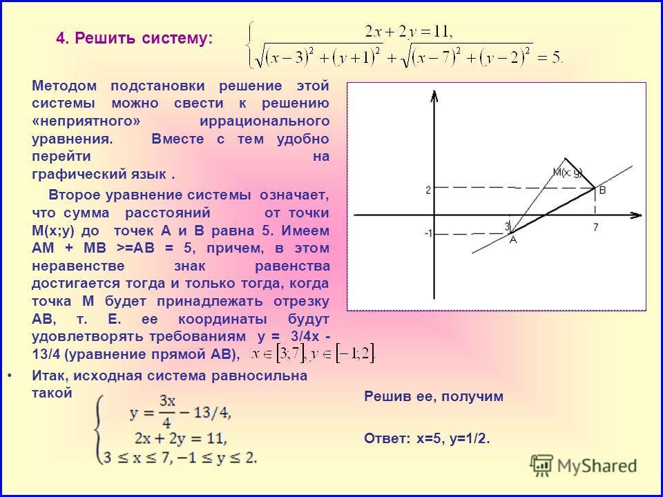 4. Решить систему: Методом подстановки решение этой системы можно свести к решению «неприятного» иррационального уравнения. Вместе с тем удобно перейти на графический язык. Второе уравнение системы означает, что сумма расстояний от точки М(х;у) до то