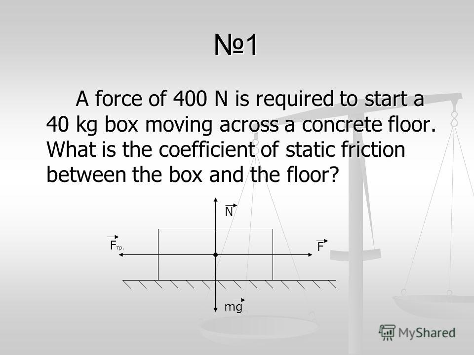 1 A force of 400 N is required to start a 40 kg box moving across a concrete floor. What is the coefficient of static friction between the box and the floor? F N mg F тр.