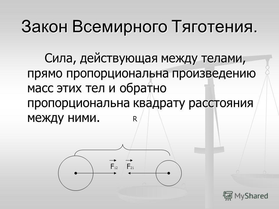 Закон Всемирного Тяготения. Сила, действующая между телами, прямо пропорциональна произведению масс этих тел и обратно пропорциональна квадрату расстояния между ними. F 12 F 21 R