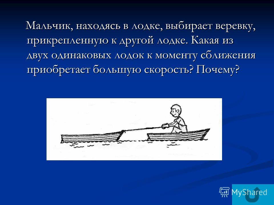 Мальчик, находясь в лодке, выбирает веревку, прикрепленную к другой лодке. Какая из двух одинаковых лодок к моменту сближения приобретает большую скорость? Почему? Мальчик, находясь в лодке, выбирает веревку, прикрепленную к другой лодке. Какая из дв