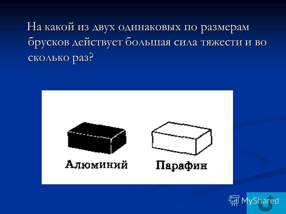 На какой из двух одинаковых по размерам брусков действует большая сила тяжести и во сколько раз? На какой из двух одинаковых по размерам брусков действует большая сила тяжести и во сколько раз?
