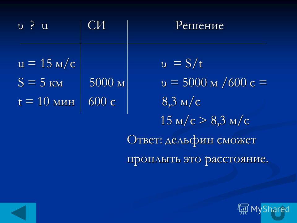 υ ? u CИ Решение u = 15 м/c υ = S/t S = 5 км 5000 м υ = 5000 м /600 с = t = 10 мин 600 с 8,3 м/с 15 м/c > 8,3 м/с 15 м/c > 8,3 м/с Ответ: дельфин сможет Ответ: дельфин сможет проплыть это расстояние. проплыть это расстояние.