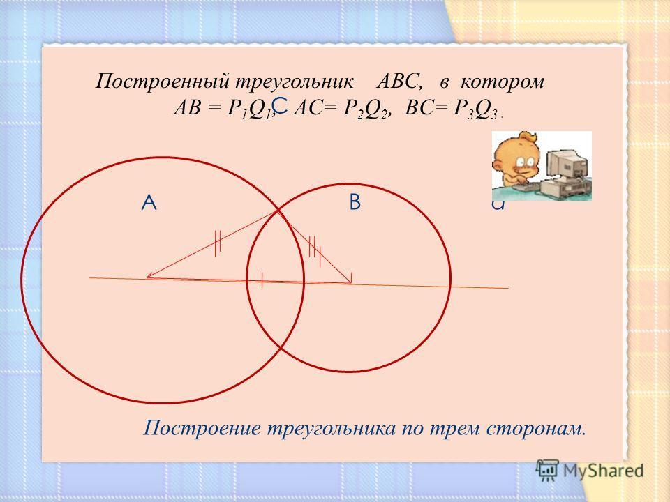 C A B а Построение треугольника по трем сторонам. Построенный треугольник АВС, в котором АВ = Р 1 Q 1, AC= Р 2 Q 2, BC= Р 3 Q 3.