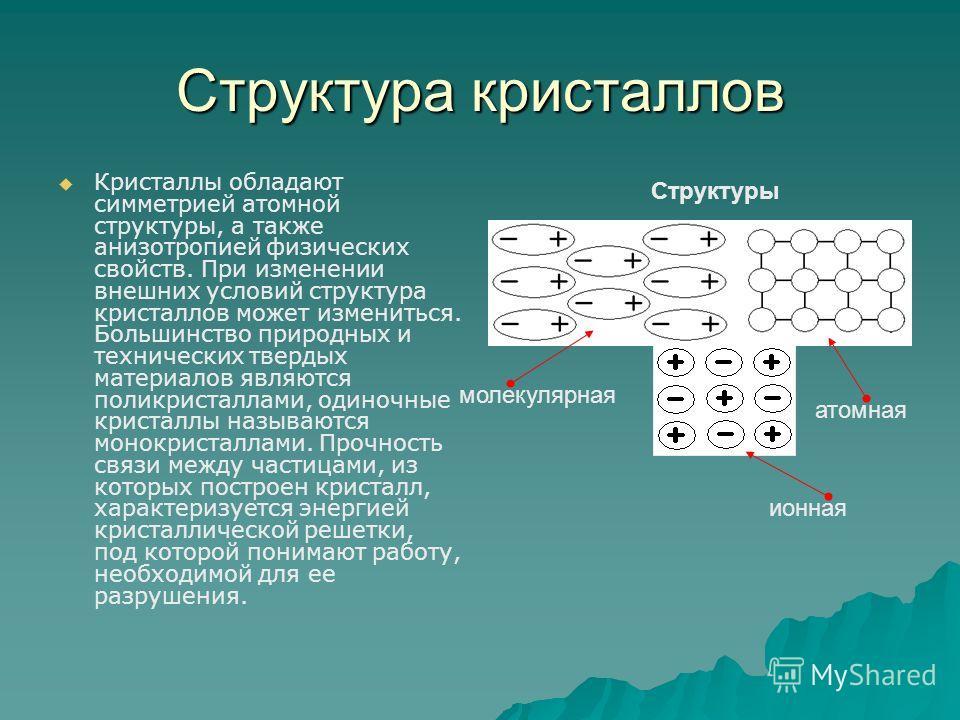 Структура кристаллов Кристаллы обладают симметрией атомной структуры, а также анизотропией физических свойств. При изменении внешних условий структура кристаллов может измениться. Большинство природных и технических твердых материалов являются поликр
