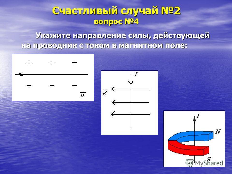 Счастливый случай 2 вопрос 4 Укажите направление силы, действующей на проводник с током в магнитном поле: