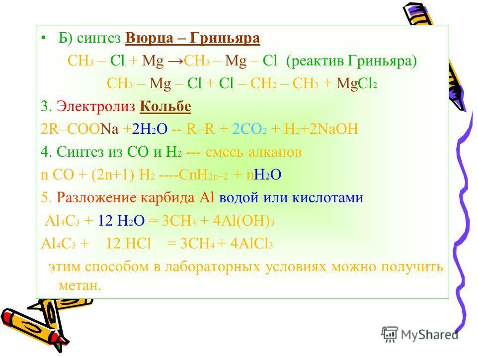 Б) синтез Вюрца – Гриньяра СН 3 – Cl + Mg CH 3 – Mg – Cl (реактив Гриньяра) CH 3 – Mg – Cl + Cl – CH 2 – CH 3 + MgCl 2 3. Электролиз Кольбе 2R–COONa +2H 2 O -- R–R + 2CO 2 + H 2 +2NaOH 4. Синтез из СО и H 2 --- смесь алканов n СО + (2n+1) H 2 ----CnH