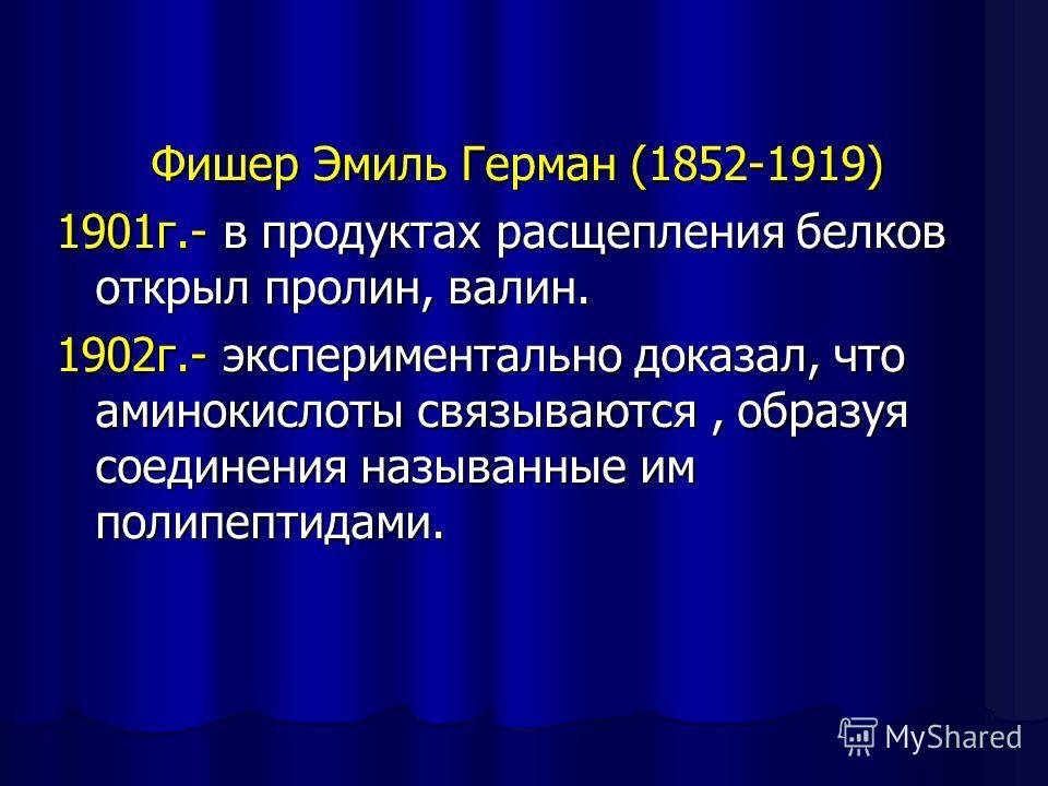 Фишер Эмиль Герман (1852-1919) 1901г.- в продуктах расщепления белков открыл пролин, валин. 1902г.- экспериментально доказал, что аминокислоты связываются, образуя соединения называнные им полипептидами.