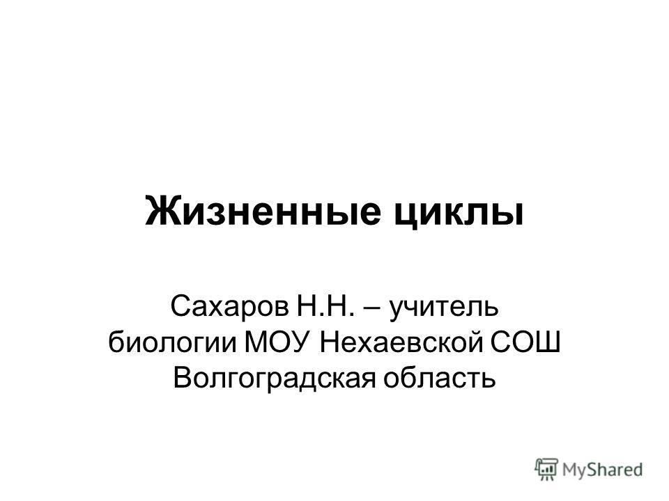 Жизненные циклы Сахаров Н.Н. – учитель биологии МОУ Нехаевской СОШ Волгоградская область