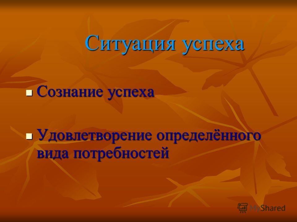 Ситуация успеха Ситуация успеха Сознание успеха Сознание успеха Удовлетворение определённого вида потребностей Удовлетворение определённого вида потребностей