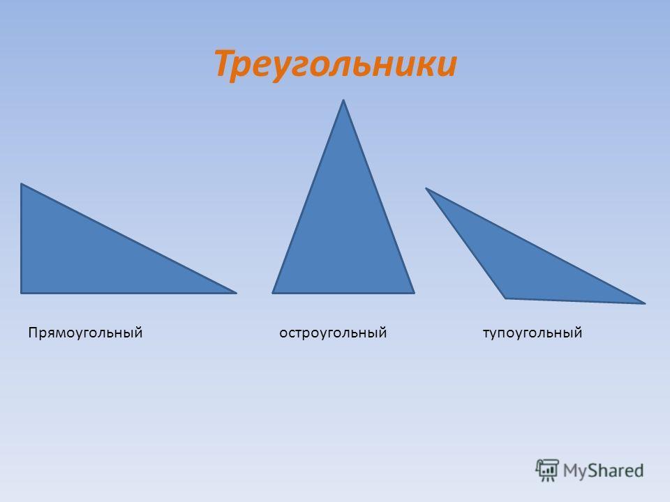 Треугольники Прямоугольныйостроугольныйтупоугольный