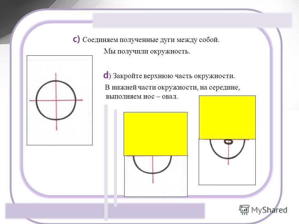 c) Соединяем полученные дуги между собой. Мы получили окружность. d ) Закройте верхнюю часть окружности. В нижней части окружности, на середине, выполняем нос – овал.