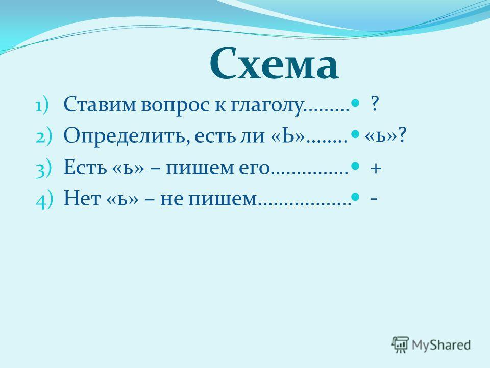 Схема 1) Ставим вопрос к глаголу……… 2) Определить, есть ли «Ь»…….. 3) Есть «ь» – пишем его…………… 4) Нет «ь» – не пишем……………… ? «ь»? + -