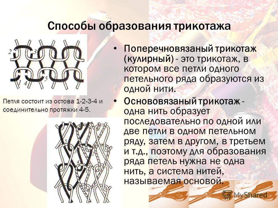 Способы образования трикотажа Поперечновязаный трикотаж (кулирный) - это трикотаж, в котором все петли одного петельного ряда образуются из одной нити. Основовязаный трикотаж - одна нить образует последовательно по одной или две петли в одном петельн