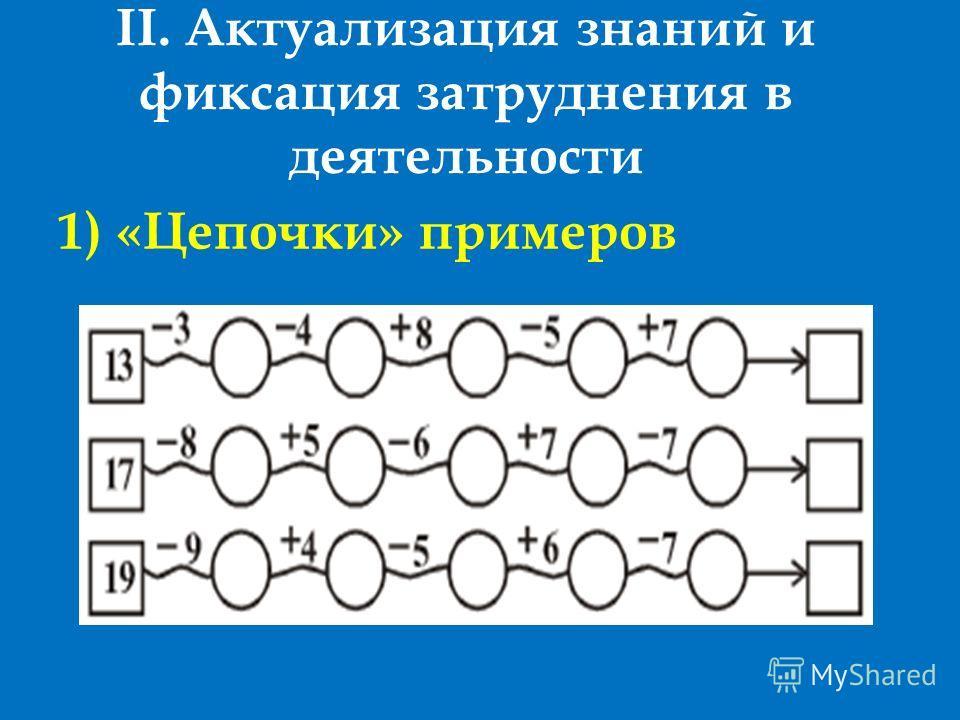 II. Актуализация знаний и фиксация затруднения в деятельности 1) «Цепочки» примеров