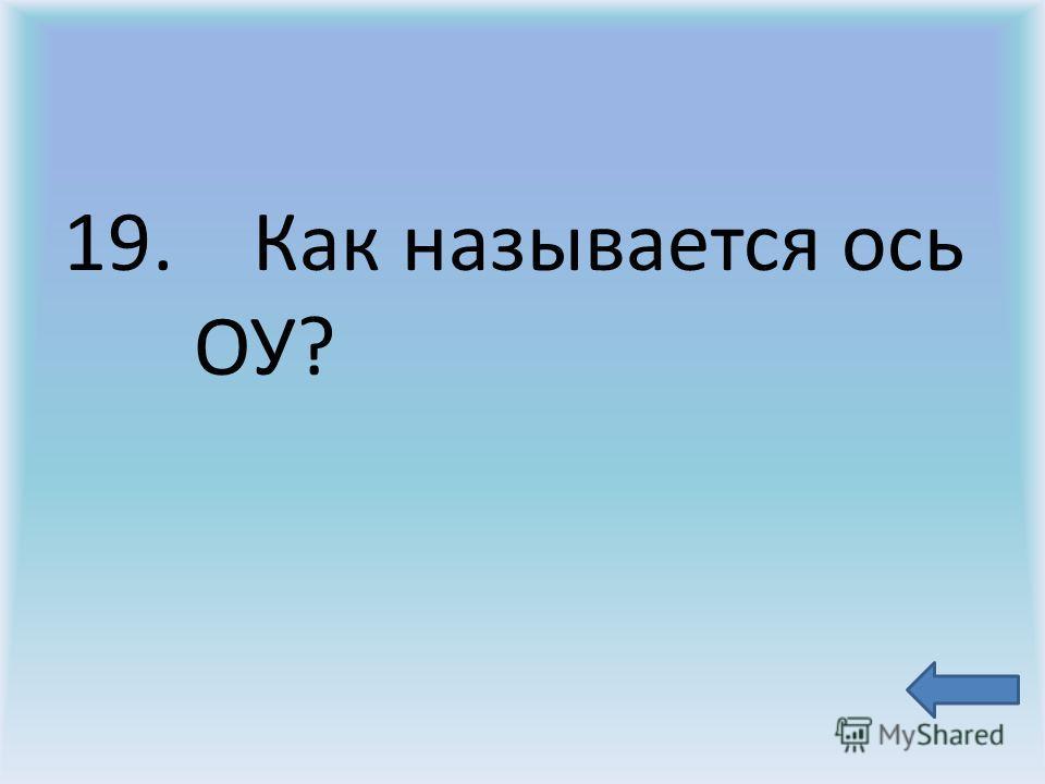 19. Как называется ось ОУ?