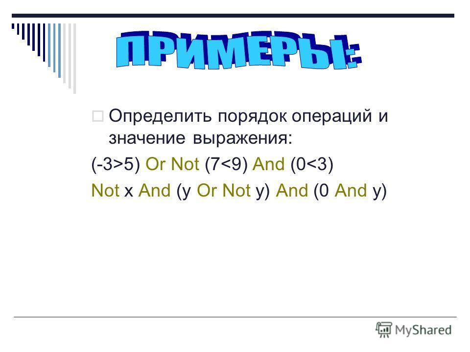 Определить порядок операций и значение выражения: (-3>5) Or Not (7