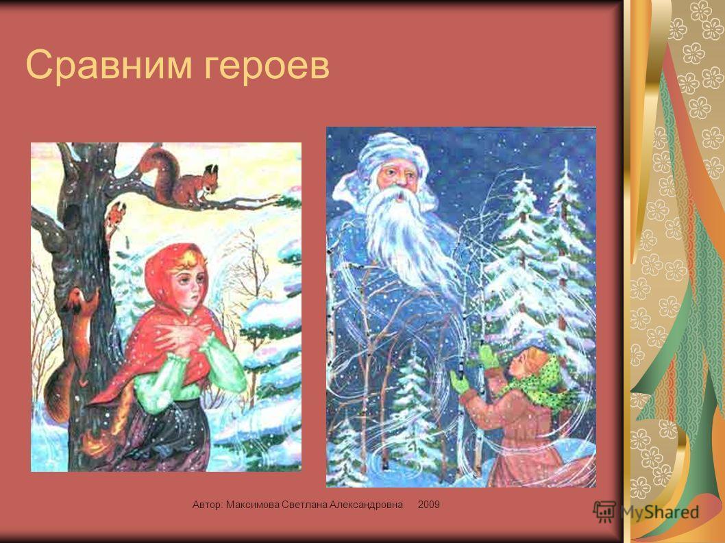 Автор: Максимова Светлана Александровна 2009 Сравним героев