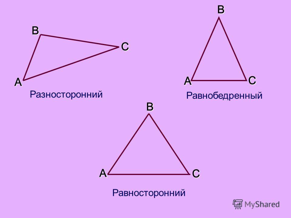 BC AB AC ABC Разносторонний Равносторонний Равнобедренный
